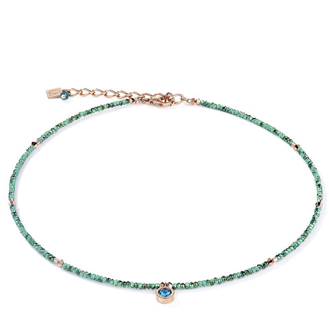 Coeur de Lion sea green cut crystal bead necklace with rose gold and petrol blue accents