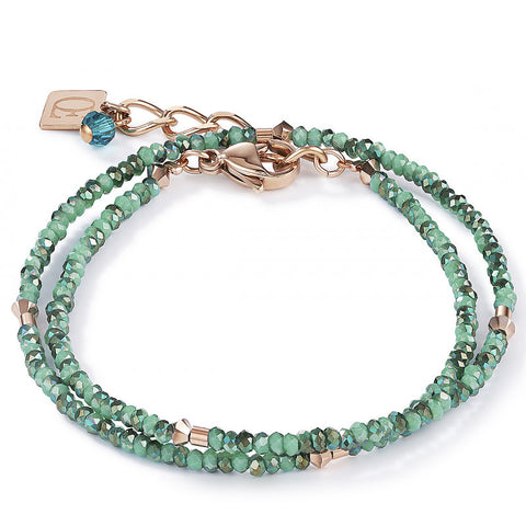 Coeur de Lion sea green cut crystal bead bracelet with rose gold and petrol blue accents