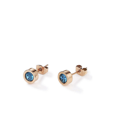 Coeur de Lion rose gold and petrol blue earrings