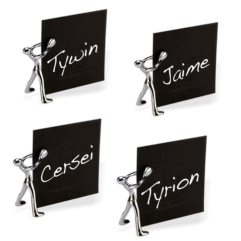Sculptural polished chrome place card holders, set of 4