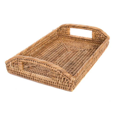 Woven rattan small rectangular tray with cutout handles