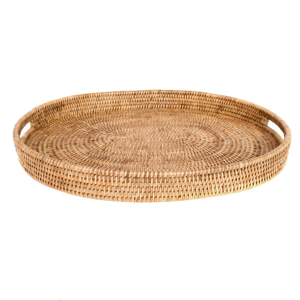 Woven rattan large oval tray with cutout handles
