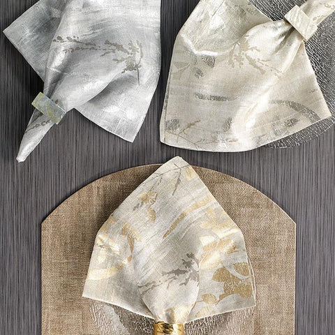 Bodrum Avignon metallic print linen napkins, set of 4
