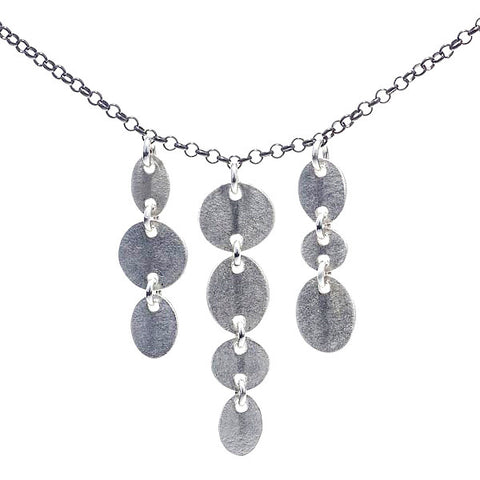 Martha Sullivan chain-linked oval silver discs cloudburst necklace