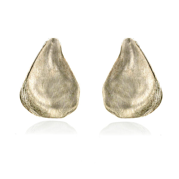Satin-finish sterling silver oyster shell post earrings