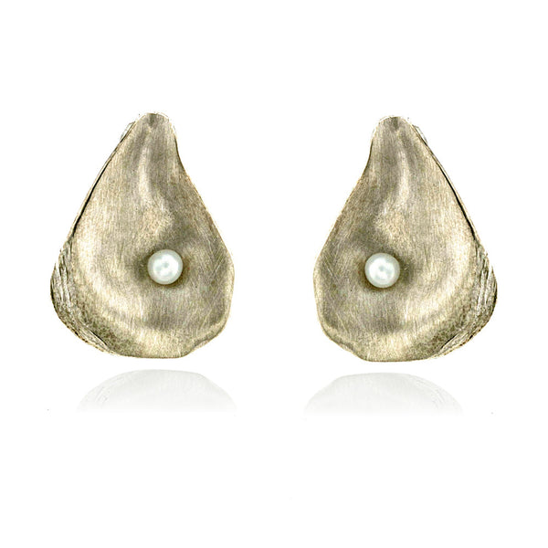 Satin-finish sterling silver and pearl oyster shell post earrings