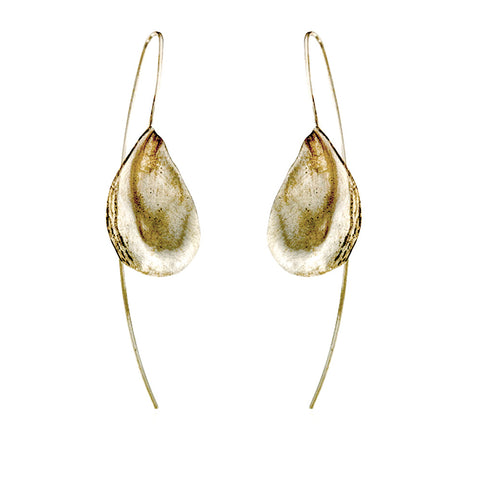 Satin-finish sterling silver oyster shell drop earrings