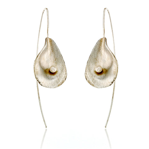 Satin-finish sterling silver and pearl oyster shell drop earrings