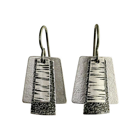 Martha Sullivan 3-layer textured silver deco earrings