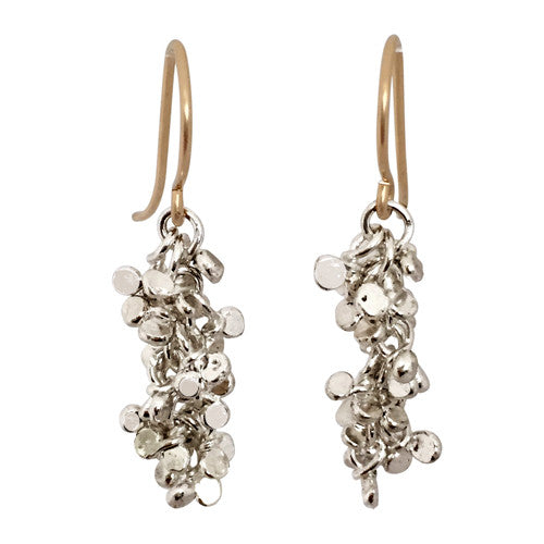 Silver sequins earrings long