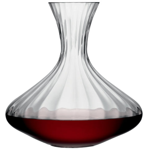 Ribbed optic glass decanter