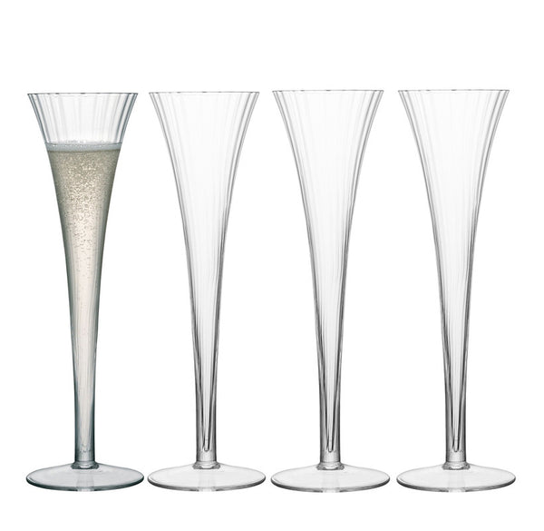 Ribbed optic glass flutes, set of 4