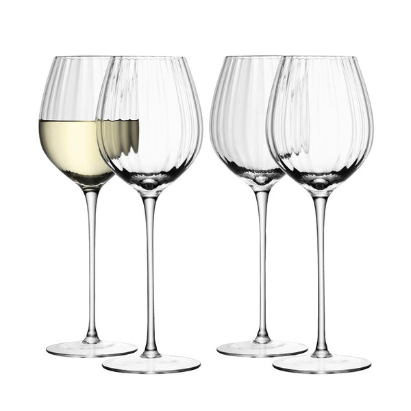 Ribbed optic white wine glasses, set of 4