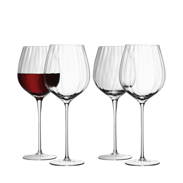 Ribbed optic red wine glasses, set of 4