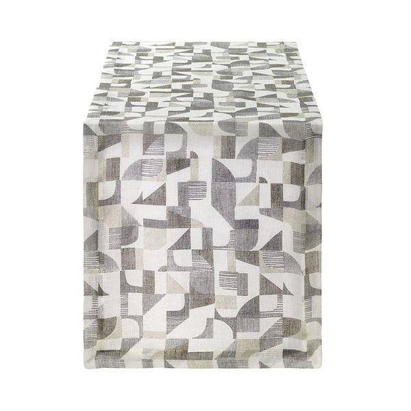 Bodrum Geo metallic print linen napkins and runners