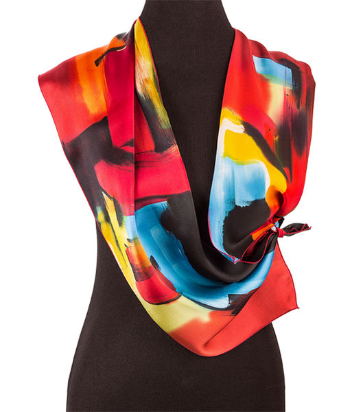 Hand-painted modern art silk scarf