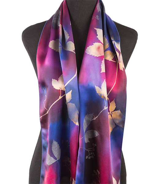 Hand-painted grape leaf silk scarf