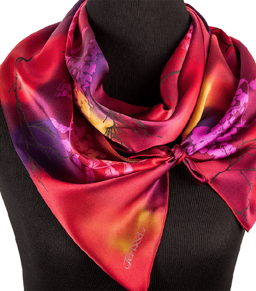 Hand-painted sorb tree silk scarf