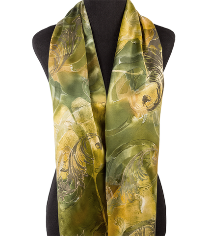 Hand-painted ginkgo silk scarf