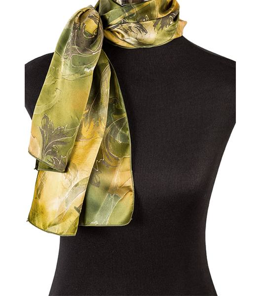 Hand-painted ginkgo silk scarf, green/gold