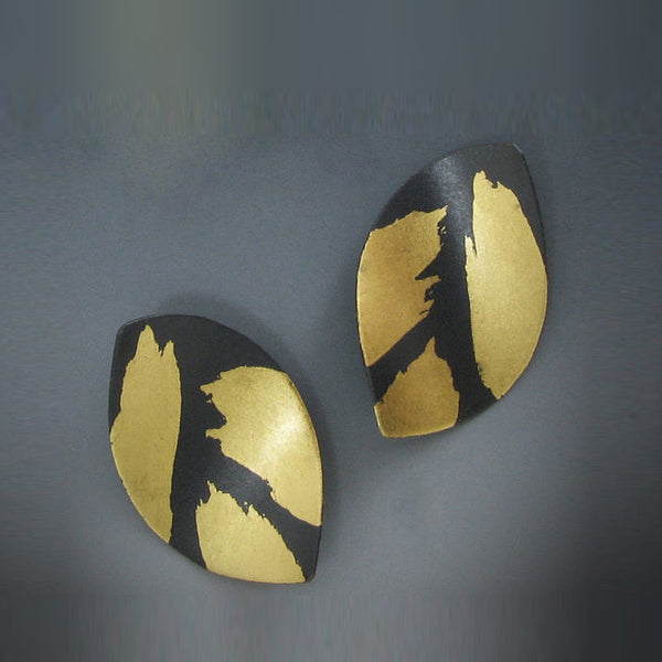 Judith Neugebauer oxidized silver and gold leaf curved leaves post earrings