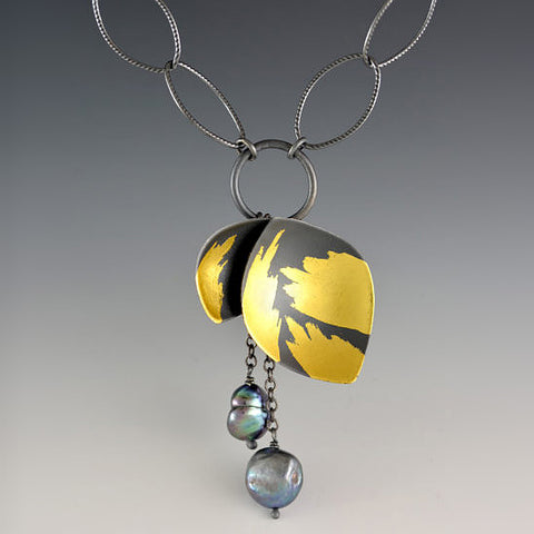 Judith Neugebauer oxidized silver and gold leaf petal cluster necklace with blue black pearls