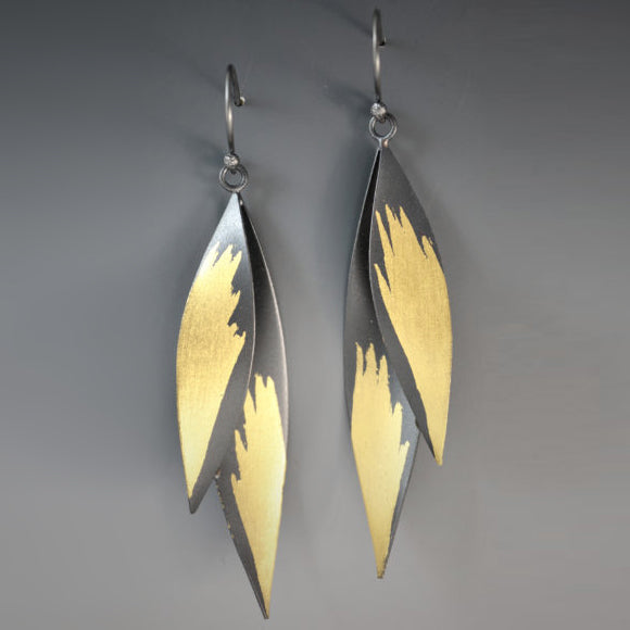Judith Neugebauer silver and gold leaf double leaf fan earrings