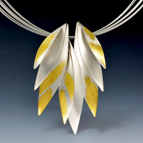 Judith Neugebauer silver and gold leaf golden wings fan necklace