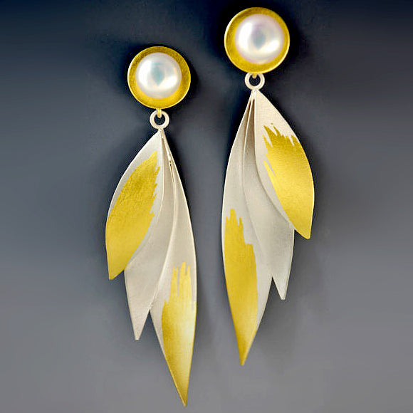 Judith Neugebauer silver and gold leaf golden wings fan post earrings