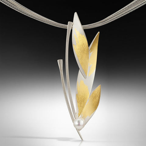 Judith Neugebauer silver and gold leaf leafing branch necklace with pearl