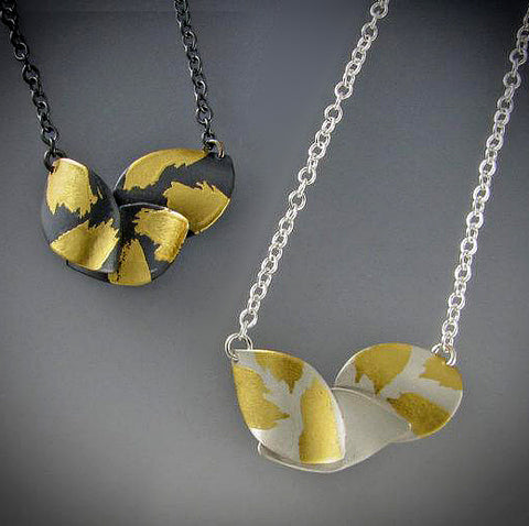 Judith Neugebauer silver and gold leaf petite curved leaves necklace