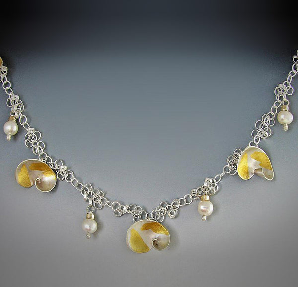 Judith Neugebauer silver and gold leaf shells and pearls necklace