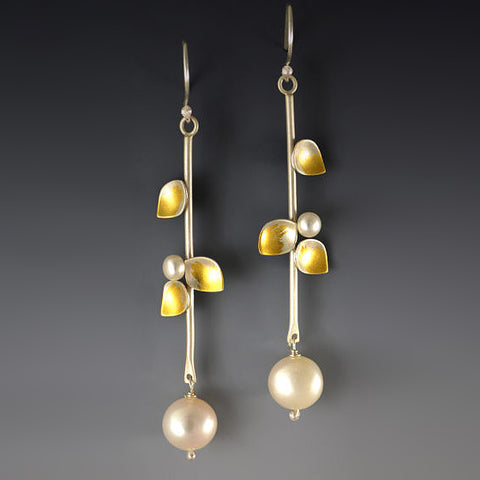 Judith Neugebauer silver and gold leaf small leaves and pearls long earrings