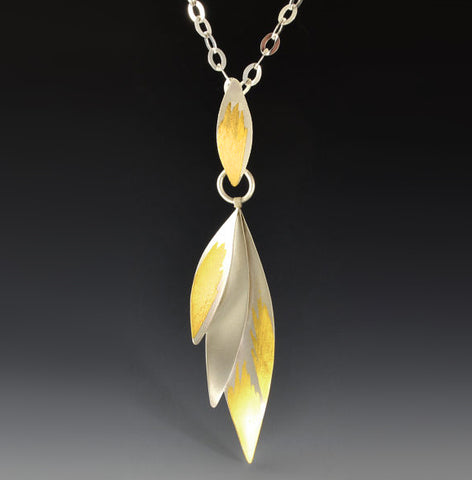 Judith Neugebauer silver and gold leaf triple leaf fan long necklace