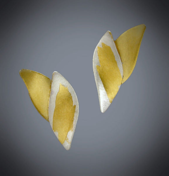 Judith Neugebauer silver and gold leaf narrow curved leaves post earrings