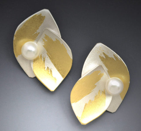 Judith Neugebauer silver and gold leaf curved leaves post earrings with pearls