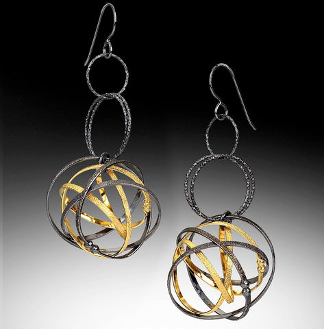 Kathleen Maley silver and gold vermeil Mobius charm triple drop loop earrings