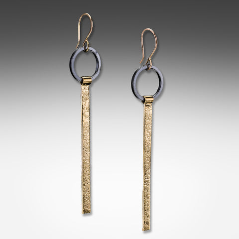 Suzanne Q Evon long tab gold vermeil earrings on silver ring