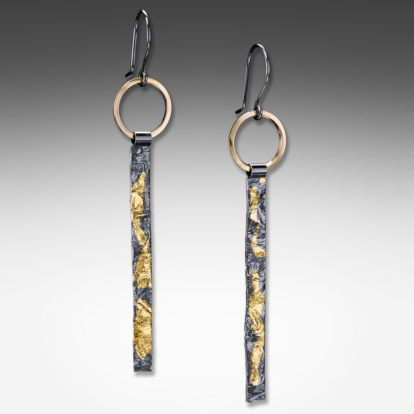 Suzanne Q Evon long tab keum-boo silver earrings on gold vermeil ring
