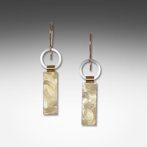 Suzanne Q Evon short tab gold vermeil earrings on silver ring