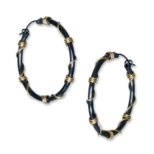 Suzanne Q Evon oxidized silver hoop earrings wrapped with gold wire