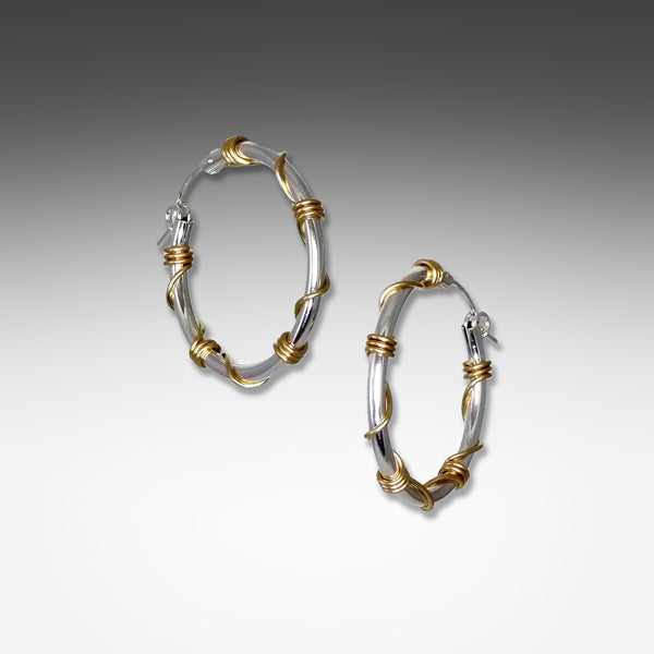 Suzanne Q Evon sterling silver hoop earrings wrapped with gold wire