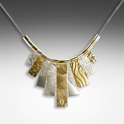 Mixed metal textured tab Cleopatra necklace