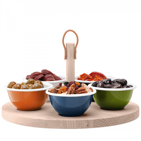 Colorful enamel tapas bowls on wood tray