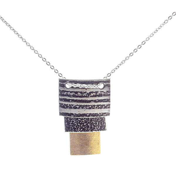 Martha Sullivan 3-tier silver and gold vermeil landscape necklace