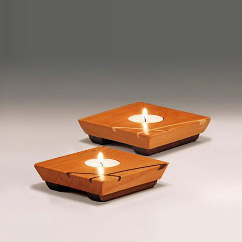 Cherry wood tealights, set of 2