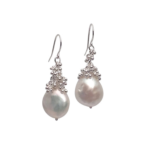 Magally Deveau silver cluster granulation earrings with baroque pearl