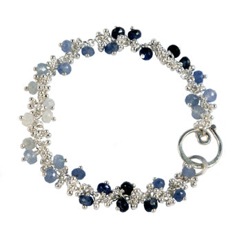 Magally Deveau silver granulation and ombré sapphire bracelet