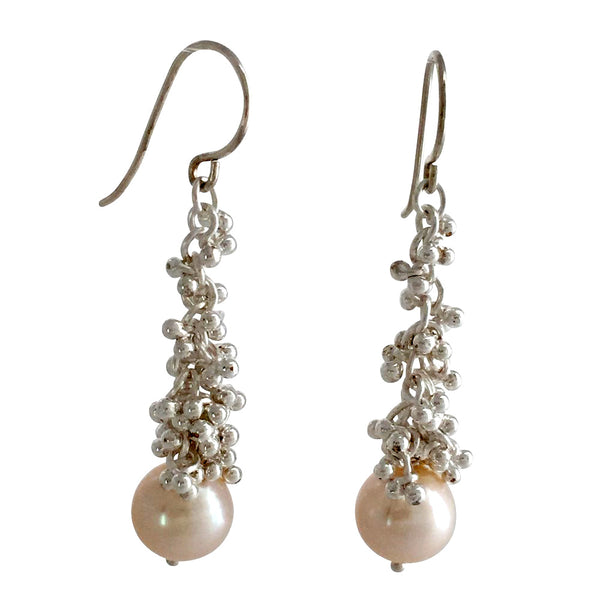 Magally Deveau silver cluster granulation long earrings with pearls