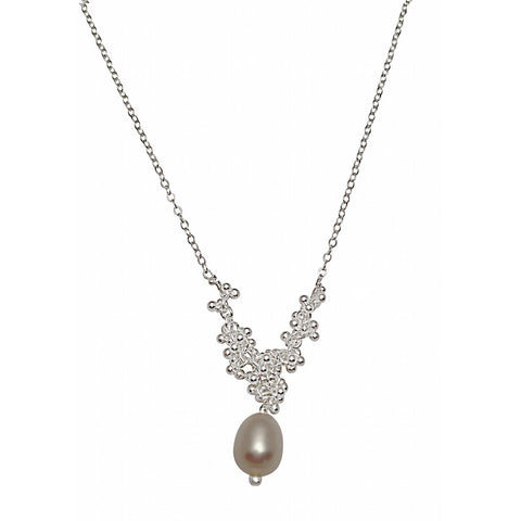 Magally Deveau silver tapered granulation necklace with freshwater pearl